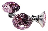 OVO® TEZ® Dali 40mm Pink Diamond Cut Crystal Knob Handle - Silver Glazed